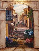 Italian Landscape Mixed Media Prints - Italian Walkway Print by Scott Stafstrom