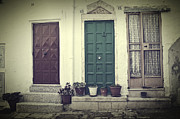 Flower Pots Prints - Italy - doors Print by Joana Kruse