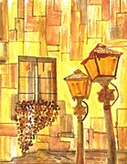 Night Lamp Painting Originals - Italy at night by Connie Valasco