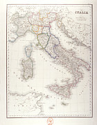 Old Map Digital Art Framed Prints - Italy Before Unification Framed Print by Fototeca Storica Nazionale