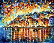 Mediterranean Framed Prints - Italy Harbor Framed Print by Leonid Afremov