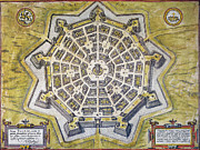 Topography Photos - Italy: Palmanova Map, 1598 by Granger