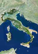 Cartography Photos - Italy, Satellite Image by Planetobserver