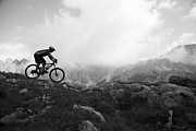 Mountain Biking Posters - Italy, Tyrol, Senior Biker Riding On Mountain Edge, Side View Poster by Poncho