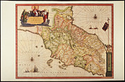 Antique Map Digital Art Metal Prints - Italy, Vatican Church State,  Tuscany, Elba Island, And Marche Region Metal Print by Fototeca Storica Nazionale