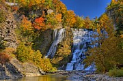 Autumn Scene Photos - Ithaca Falls In Autumn by Matt Champlin