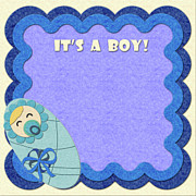 Handmade Digital Art Prints - Its a boy Greeting card Print by Anna Kosenko