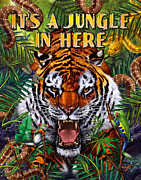 Tiger Painting Framed Prints - Its a Jungle  Framed Print by JQ Licensing