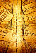 Religious Art Pyrography Prints - Its A Long Road Print by Ted Wheaton