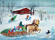 Winter Prints Pastels Framed Prints - Its a Sleigh Ride Framed Print by Rose McIlrath Garza