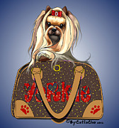 Catia Cho Art - Its a Yorkie in a Bag  by Catia Cho