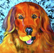 Retriever Drawings Posters - Its About the Ball Poster by Susan A Becker