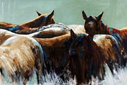Herd Of Horses Prints - Its All About the Brush Stroke Print by Frances Marino