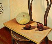 Interior Still Life Painting Metal Prints - Its beautiful desiccated fruit Metal Print by Raimonda Jatkeviciute-Kasparaviciene