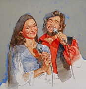 Rock Portraits Mixed Media Originals - Its Country - 10 Crystal Gayle Eddie Rabbit by Cliff Spohn