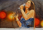 Rock Portraits Mixed Media Originals - Its Country - 11 Crystal Gayle by Cliff Spohn