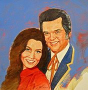 Country Music Mixed Media Acrylic Prints - Its Country - 12 Loretta Lynn Conway Twitty Acrylic Print by Cliff Spohn