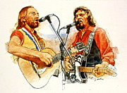 Celebrity Portraits Posters - Its Country - 7  Waylon Jennings Willie Nelson Poster by Cliff Spohn