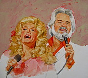 Rock And Roll Mixed Media Originals - Its Country - 8  Dolly Parton Kenny Rogers by Cliff Spohn
