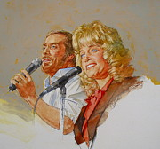 Rock And Roll Mixed Media Originals - Its Country - 9 Lee Greenwood Barbara Mandrell by Cliff Spohn