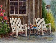 Rocking Chairs Framed Prints - Its Five OClock Somewhere Framed Print by Karen Fleschler