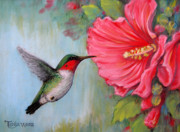 Animals Pastels Prints - Its Hummer Time Print by Tanja Ware