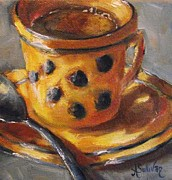 Stoneware Paintings - Its Just Too Hot For Coffee by Angela Sullivan