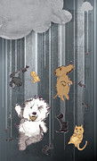 Metaphor Mixed Media Posters - Its Raining Cats and Dogs Poster by Jim Howard