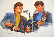 Rock Portraits Mixed Media Originals - Its Rock And Roll 4  - Everly Brothers by Cliff Spohn