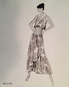 Updo Drawings Prints - Its Sarong Its Right Print by Sarah Parks