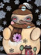 Paiting Metal Prints - Its snowing Metal Print by  Abril Andrade Griffith