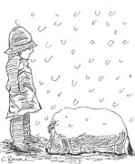 Christopher Drawings - Its Snowing by Claire Budden