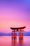 Place Of Worship Photos - Itsukushima (miyajima) - Torii by Jaylie Wong