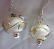 Abstract Jewelry - Ivory Leaves Earrings by Janet  Telander