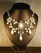 Soldered Jewelry - Ivory Pearl and Crystal Festoon Necklace by Janine Antulov