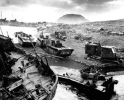 Landmarks Digital Art Metal Prints - Iwo Jima Beach Metal Print by War Is Hell Store