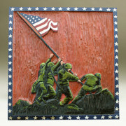 Woodcarving Reliefs Originals - Iwo Jima by James Neill