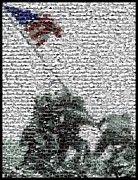 Raising Mixed Media - Iwo Jima War Mosaic by Paul Van Scott