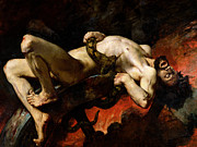 Naked Metal Prints - Ixion Thrown into Hades Metal Print by Jules Elie Delaunay