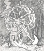 Monotone Drawings Prints - Ixions Wheel Print by Neil Trapp