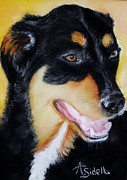 Domestic Dogs Painting Prints - Izzy Print by Annamarie Sidella-Felts