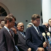 Rfk Photos - J. Edgar Hoover Joins President John by Everett