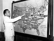 B.i.g. Framed Prints - J. Edgar Hoover Pointing To Map Showing Framed Print by Everett
