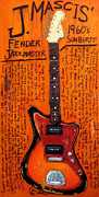 Guitars Paintings - J Mascis Jazzmaster by Karl Haglund
