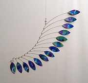 Blue Mobile Sculptures - Jabberwocky Kinetic Mobile Sculpture by Carolyn Weir