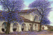 Mission San Juan Bautista Framed Prints - Jacaranda Framed Print by Doug Kreuger