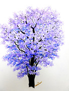 Greeting Card Pastels Prints - Jacaranda Time Print by Karin Best