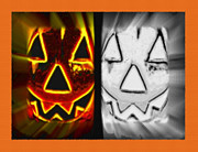Frightening Mixed Media - Jack - Pumpkin Face Diptych by Steve Ohlsen