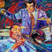 Trombone Painting Originals - Jack And Gene by Debra Hurd