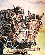 Farm Mixed Media Prints - Jack and Joe Hard Workin Horses Print by Toni Grote